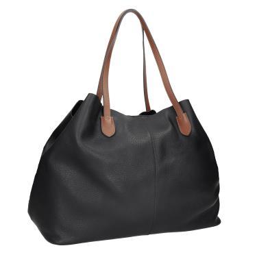 1 Černá kožená kabelka s hnědými uchy d37072607f0