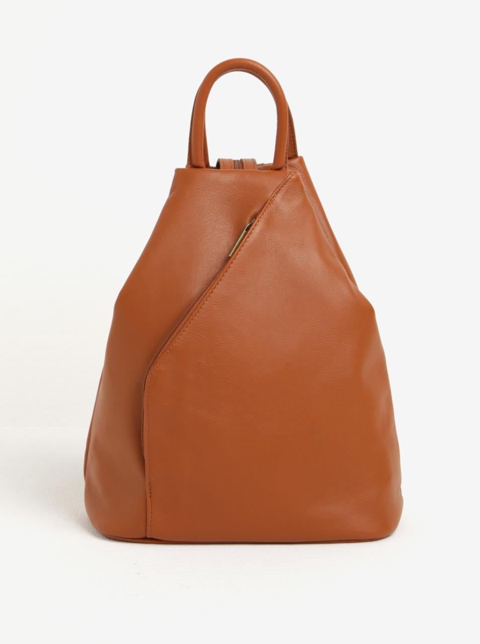 27067a526332 Hnědý dámský kožený batoh KARA