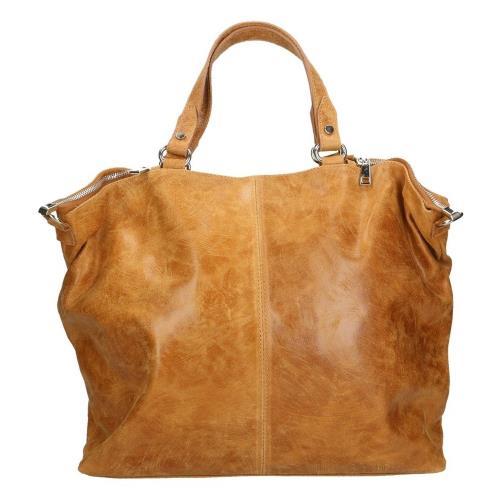 Koňakově hnědá kožená kabelka Chicca Borse Terracia  a913eb5bf01